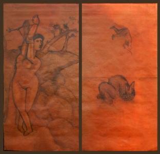 """ andromeda "" 2004, cm 200x100, oil on paper"