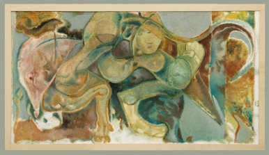 """"""" don-chisciotte """" -2001, cm 100x200, oil on polystyrene"""