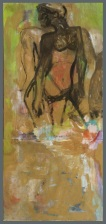 """ amanti bruni "" -2006, cm 91x200, mixed on wood, private collection"