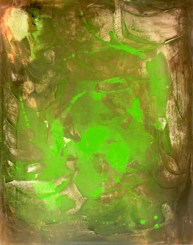 """ fuoco-verde "" -2007, cm. 70x100, mixed media on canvas, private collection"