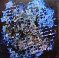 """ grande-blu "" -2007, cm 100x100, mixed media on canvas, private collection"