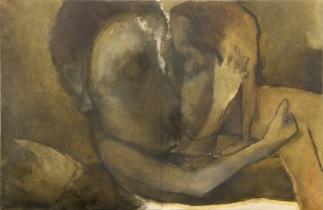 """"""" il-bacio """" -1999, cm 100x150, oil on paper, private collection"""