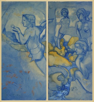 """ paride "" -2004,cm 200x100, oil on paper"