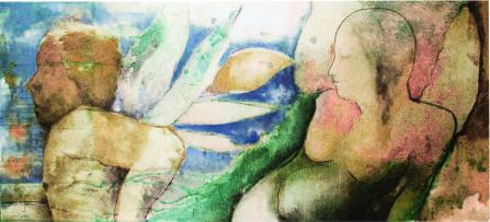 """ musa "" -2001, cm 210x90, mixed media on wood, private collection"