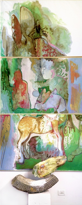""" perseo "" 2002, mixed media 400x150 cm, private collection"