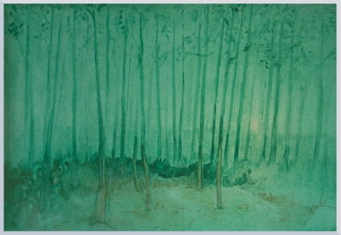 """ pioppeto "" -2004, cm 100x150, oil on paper"