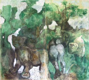 """ porta-del-bosco "" -2009, cm 250x222, encaustic on wood"