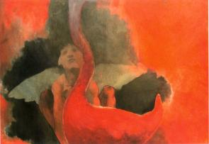 """ rosso-pan "" -2000, cm 100x150, oil on paper, private collection"