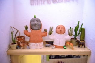 """mexican family"", 2010, terracotta and cactus"