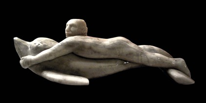 """a Paolo"" - 2010, withe marble, 70x30x25cm, private collection"