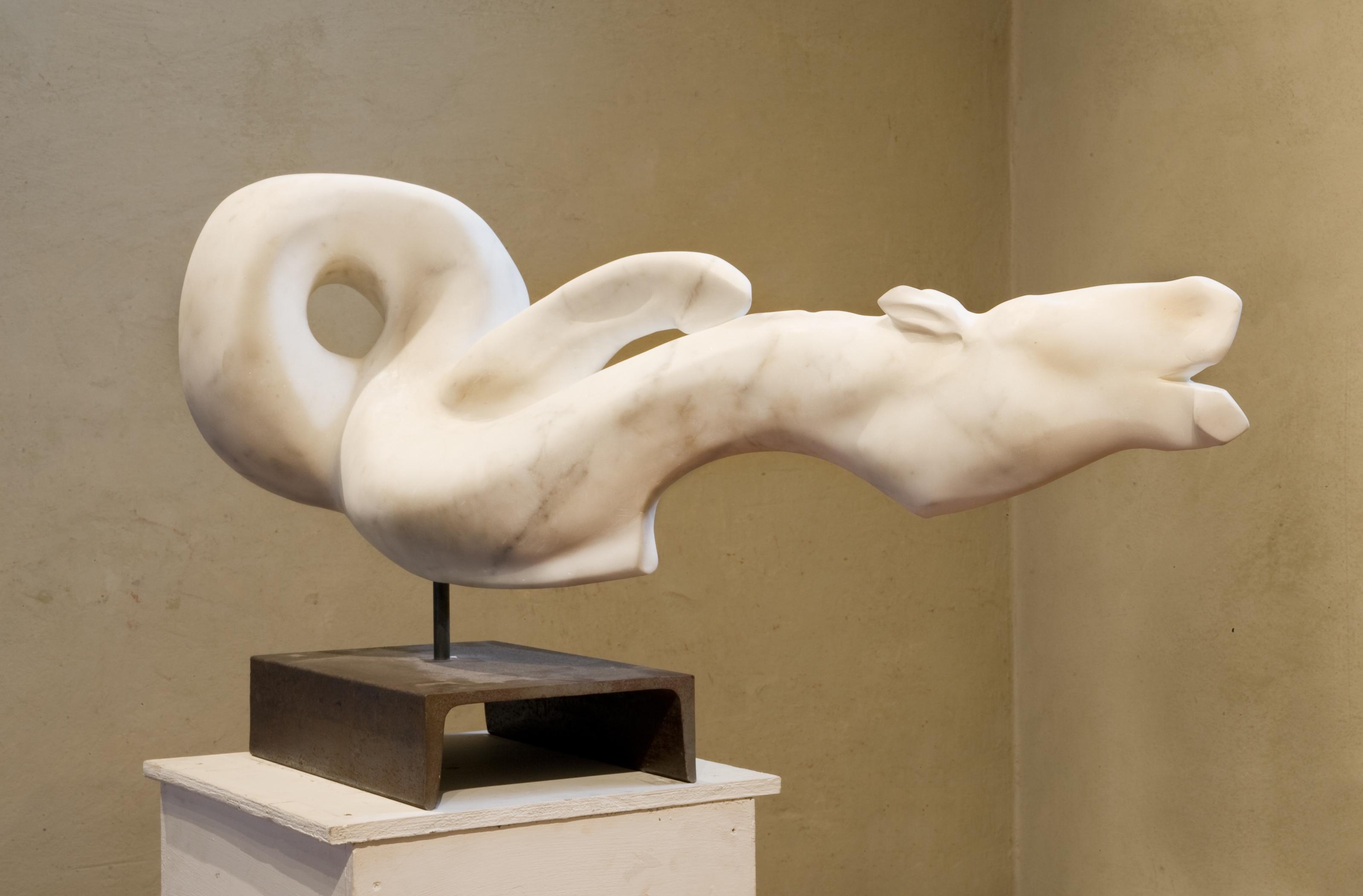 Cavallino, 2008, marmo statuario di Carrara, cm 52 x 110 x 52